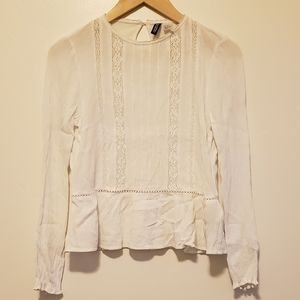 H&M Divide Collection white long sleeve top